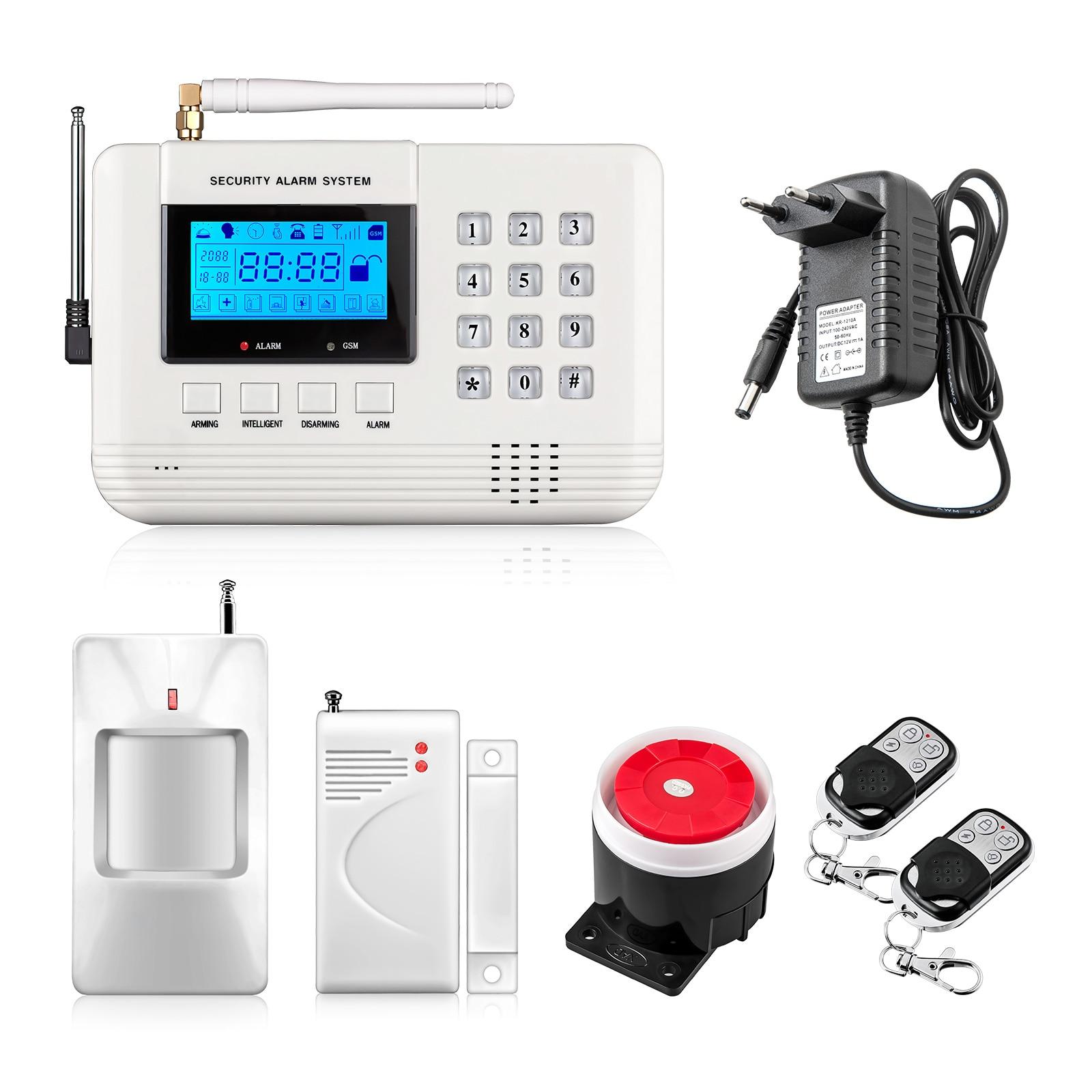 imágenes para Nueva llegada Pantalla LCD 433 Mhz Control Remoto de Alarma de Su Casa GSM SMS Sistema de Alarma gsm PSTN Doble de Redes de Seguridad Para El Hogar