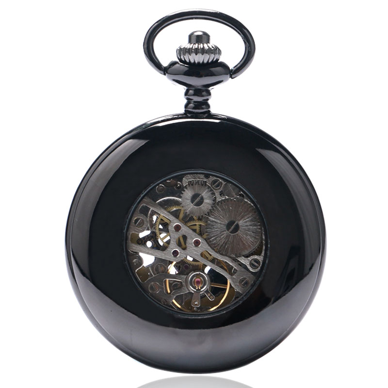 Nieuw Trendy Cool Black Peacock Hollow Case Blauw Roman Number Skelet - Zakhorloge - Foto 3