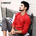 Simwood 2016 nova outono inverno hoodies dos homens camisolas causais moda manga longa de cor 4 100% puro algodão 4 cores wy8030
