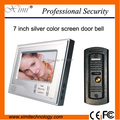 Hot! 7 inch color video door phone night version video doorbell silver color cabinet metal camera