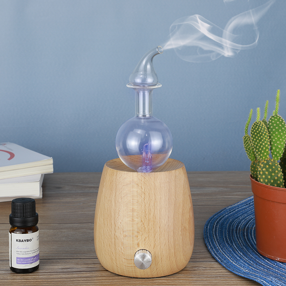 Essential Oil Diffuser Aroma Air Purifier Wood and Glass Aromatherapy Diffuser Mist Maker Fogger With 7 Colors LED Light