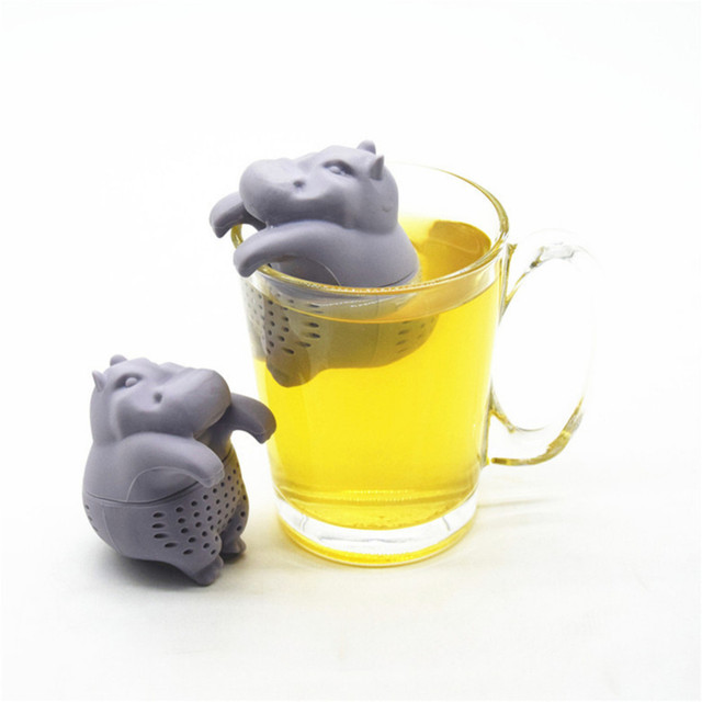 1pc Hippo Shaped Tea Infuser Silicone Reusable Strainer Coffee Herb Filter Empty Bags Loose