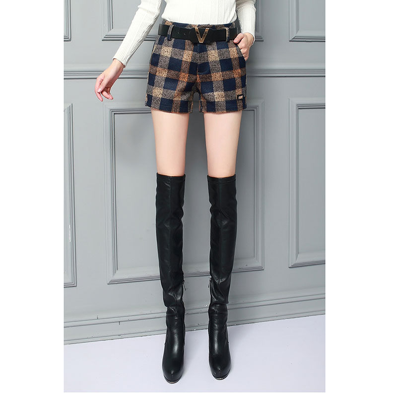 Korte Broek Winter Dames.2017 Vrouwelijke Winter Wol Plaid Shorts Mode Dames Shorts Verdikte