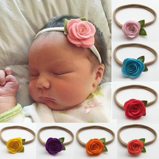 0f59789e6854 60pcs lot 16 Colors Newborn Girls Felt Flower Headband With Nylon Headband  Kids Flower Headbands Nylon Elastic Headband