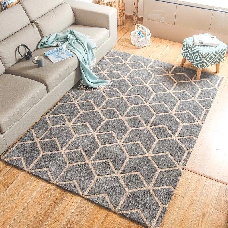 Tapis motif géométrique style nordique pour salon, tapis de chevet décoratif grande taille, tapis bleu de type moderne