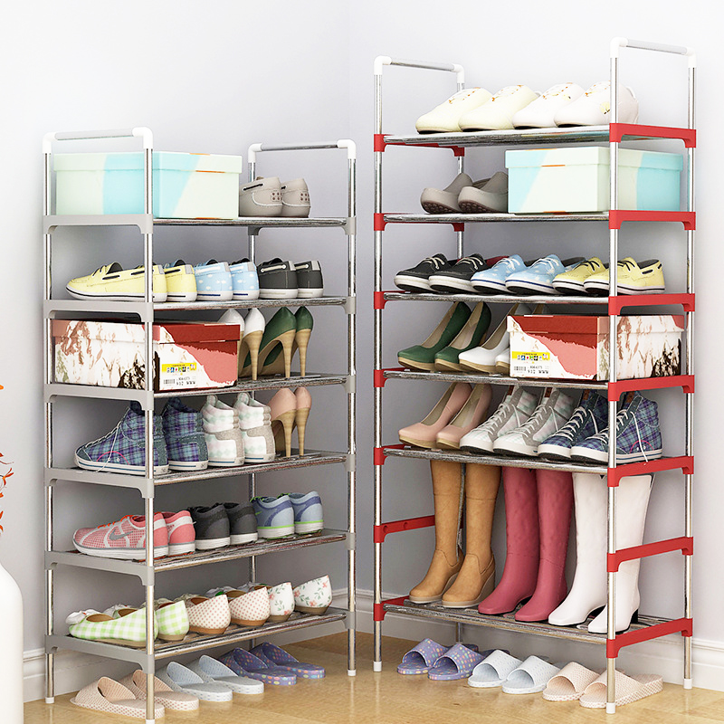 Multi Layer Shoe Rack with handrail Galvanized steel pipe shoe cabinet shoe organizer removable shoe storage for home furniture 43 3 inch 7 layer 9 grid non woven fabrics large shoe rack organizer removable shoe storage for home furniture shoe cabinet