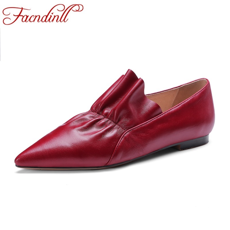 FACNDINLL spring summer women flats shoes genuine leather flat heel pointed toe black red shoes woman slip on casual flat shoes free shipping qhy polemaster electronic polarscope without adapter