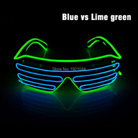 2017 Multicolor EL Wire 100pcs LED Neon Lighting Flashing Shutter Glasses With 3V Steady On Driver