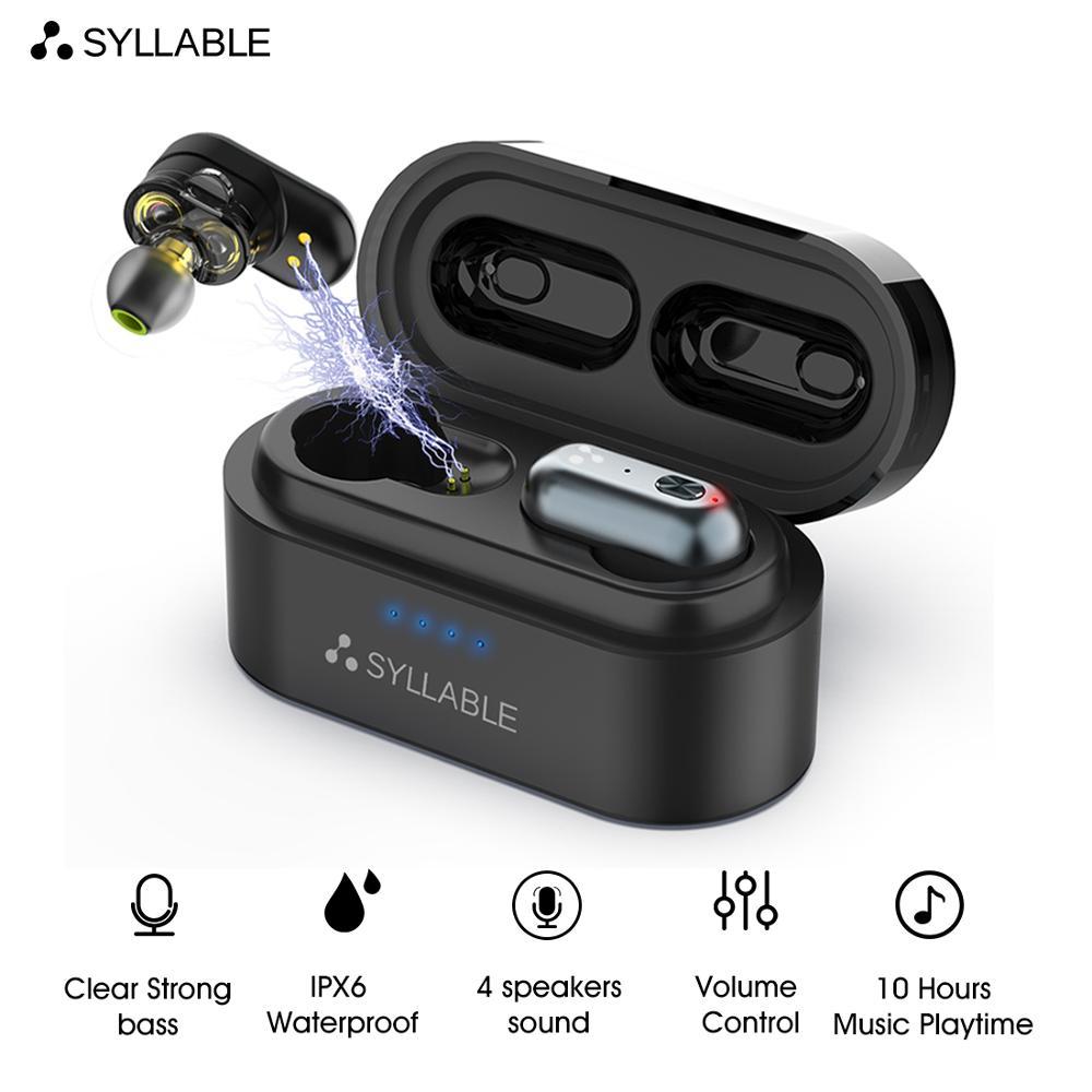 Бас-наушники с шумоподавлением SYLLABLE S101, оригинальные, Bluetooth v 5.0, беспроводная гарнитура, регулятор громкости