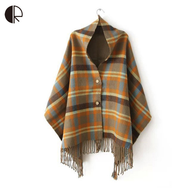 65cm*180cm Burb Quality Brand Lady Shawl  Plaid Scarves Batwing Casual Poncho for Women Winter Coat Loose Cloak Cape AM199