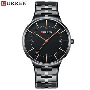 Image 2 - CURREN relojes de cuarzo para hombre, reloj de pulsera clásico negro con correa de acero inoxidable, resistente al agua hasta 30M, 2019