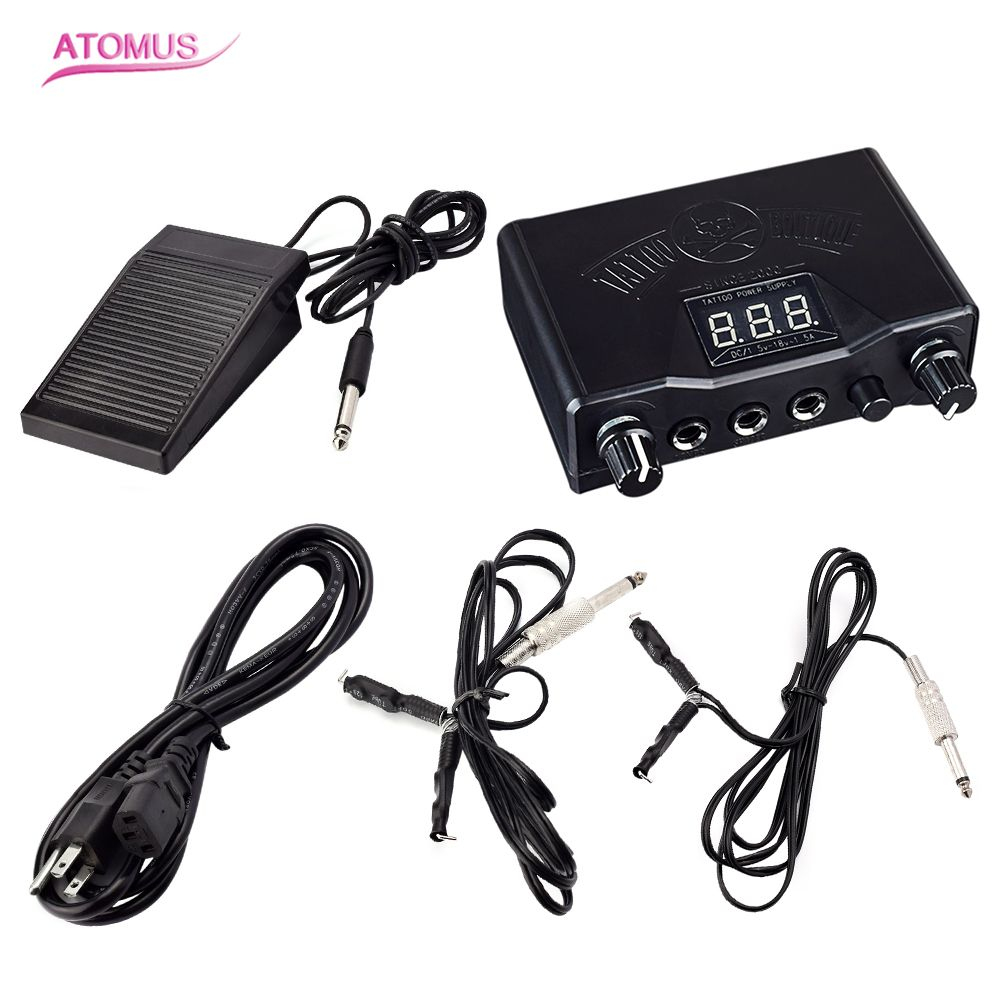 Professional Tattoo Black Stable Tattoo Power Supply Digital LCD  Machine Foot Pedal Switch Clip Cords With US Plug