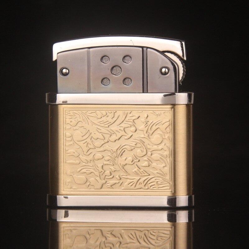 Классический Винтаж металлическая зажигалка Шлифовальные круги курение пламя Запальные средства для мангала случае Для мужчин огонь Авто-...