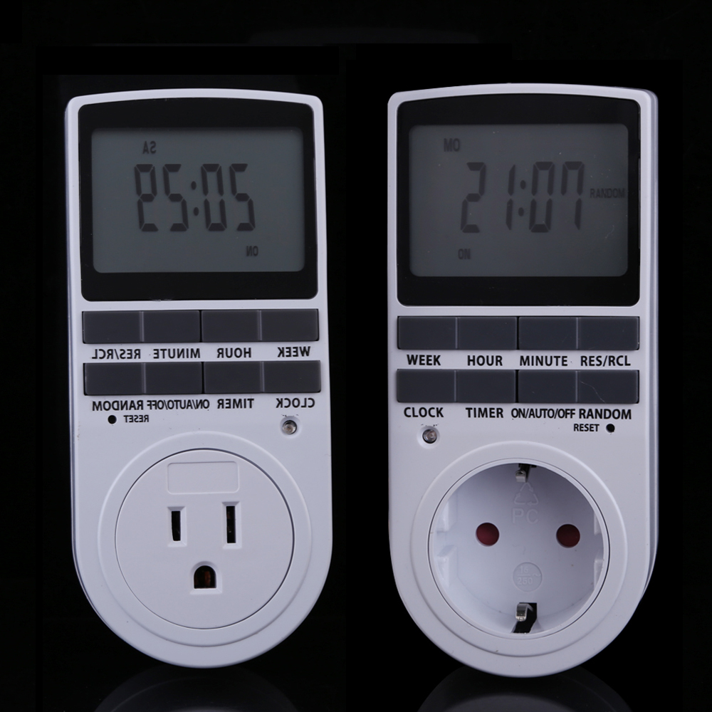 US EU Plug Portable Plug in Digital Timer 24h 7day Week with LCD Display for Indoor
