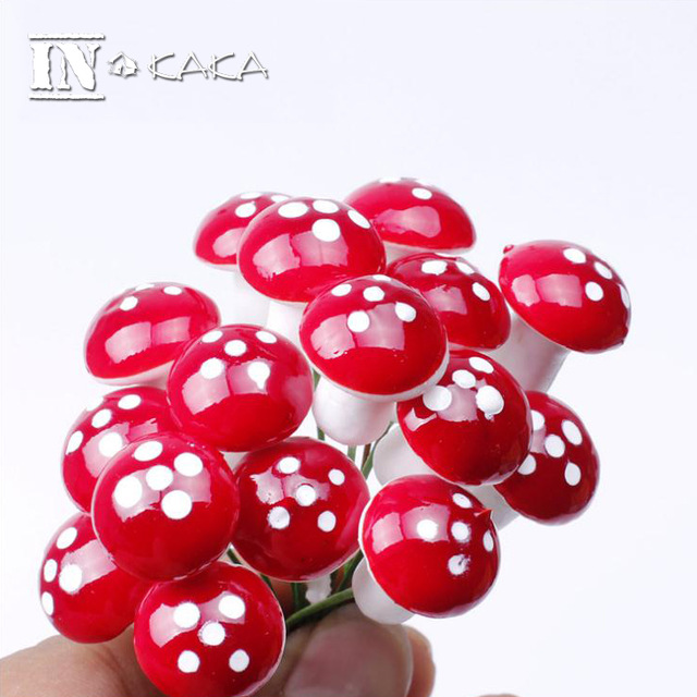10pcs Micro Moss World Landscape Decoration Mini Foam Mushroom Miniature Terrarium Ornaments DIY Toys Garden Accessories