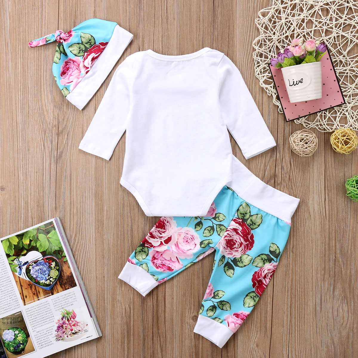 4c5a20bad ... 2017 Brand New Newborn Toddler Infant Baby Girl Bodysuit Pants Headband  Hat 4Pcs Daddy Little Girl