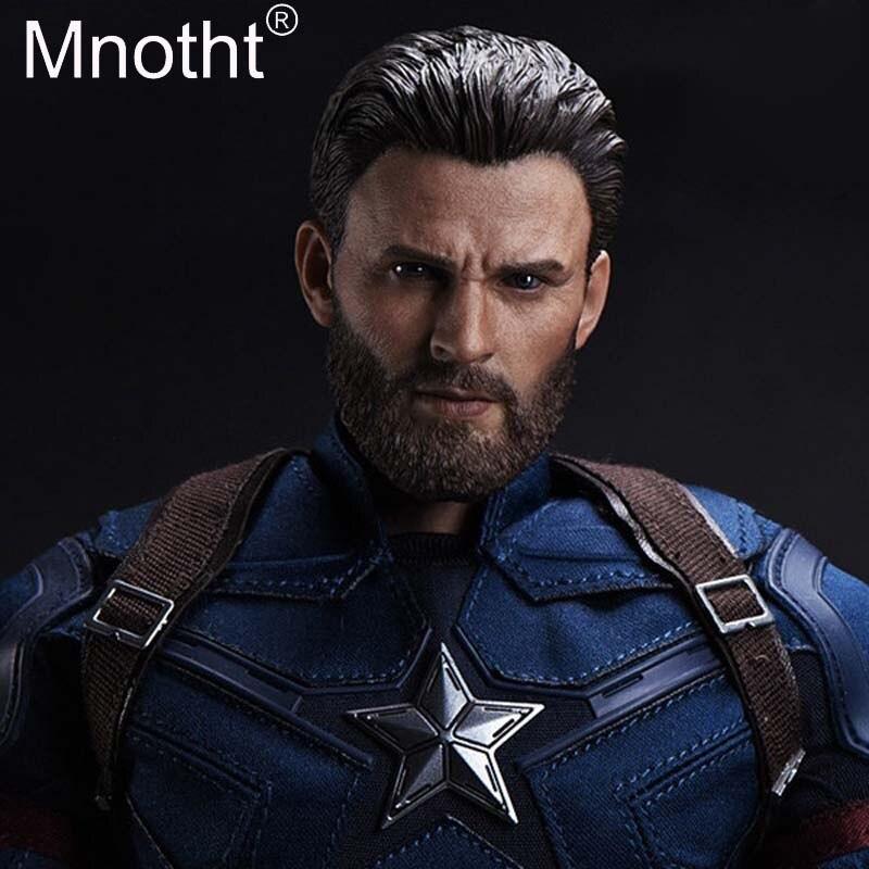 1/6 échelle Captain America tête sculptée barbe Ver. Chris Evans tête sculpte tête sculpture modèle poupée de collection jouets accessoires
