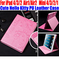 Cute Hello Kitty PU Leather  Stand Cover for iPad 4/3/2 Smart Case For IPad Air1/Air2 For iPad mini 4/3/2/1 IM415