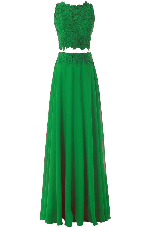 31d1639a95 US $75.0 |A Line Chiffon O Neck Chifon Long Two Pieces Prom Dress 2017 Red  Lace Evening Gown Appliques vestido de fiesta vestidos SL P329-in Prom ...