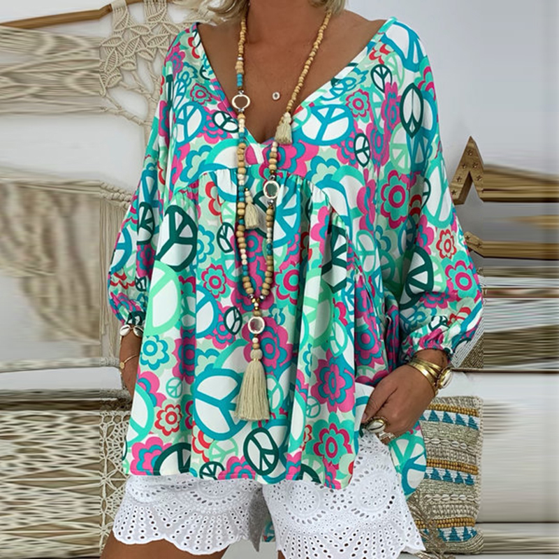 Women's Blouse Boho Floral Printed Long Sleeve Casual Loose Tops Ladies Hippie Gypsy Tunic Blouse Shirt
