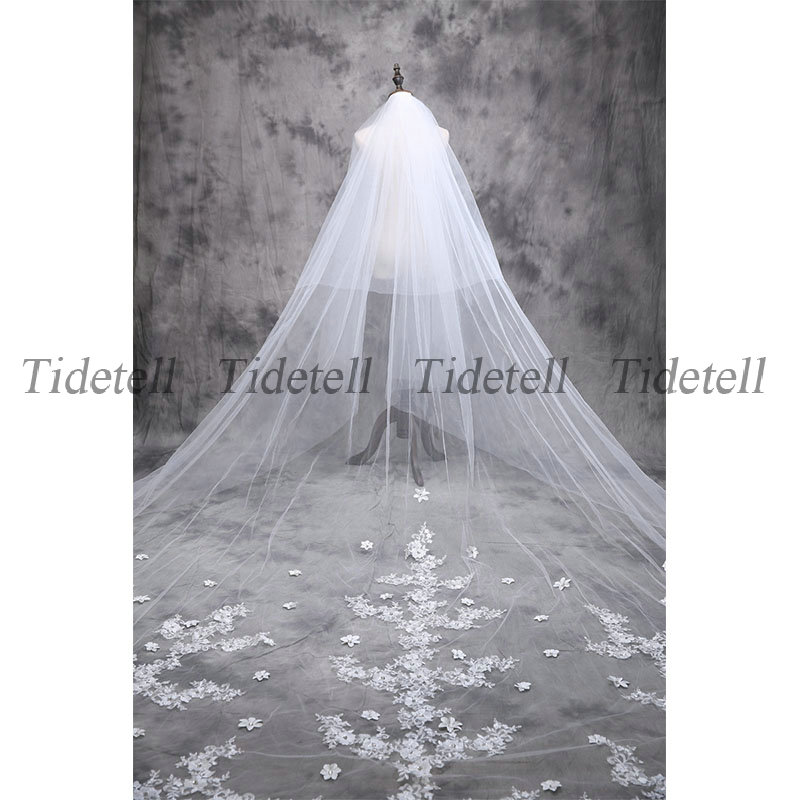 052c929e5f Tidetell In Stock Bridal Veils 5 Meters Long White Beautiful Cathedral  Length High Quality Soft Tulle Appliques Bridal Veil