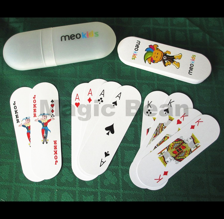 1 Set Playing Cards Poker with Plastic Container Wholesale High Quality Oval Shaped Women Kids 54 Cards Board Game Poker