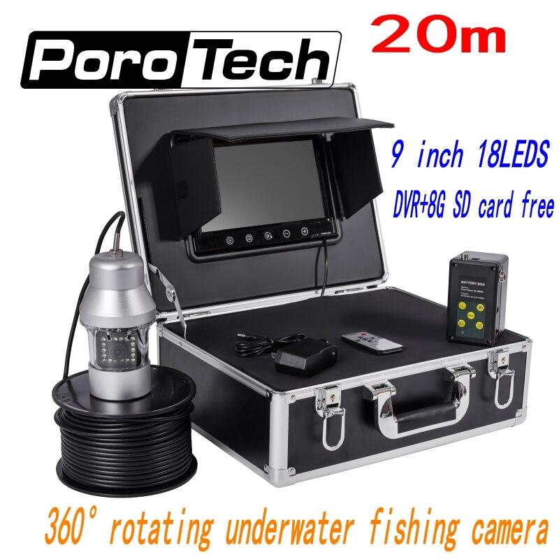 F08A 20m 9 TFT Monitor HD Underwater Fishing camera 18pcs LED fish Finder 360 Degree Rotating Fishing Video Camera+8G card freeF08A 20m 9 TFT Monitor HD Underwater Fishing camera 18pcs LED fish Finder 360 Degree Rotating Fishing Video Camera+8G card free