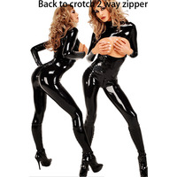 Black Faux Leather Catsuit Women Back To Crotch Zipper Open Bra Crotchless Sexy Lingerie Hot Spandex