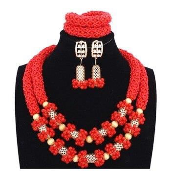 1723208178bf 4 ujewelry al por mayor Dubai Juegos de joyería nupcial nigeriana roja  Juegos de joyería Dubai oro Color 2 capas collar Conjunto para las mujeres  2018
