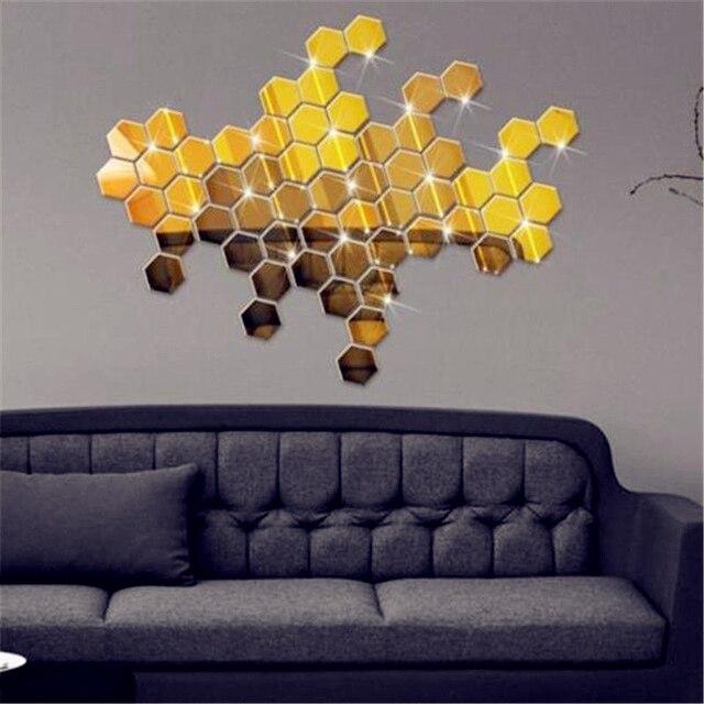 ZooYoo 12 Teile/satz Hexagon Acryl Spiegel Wandaufkleber DIY Kunst  Wandtattoos Wohnkultur Wohnzimmer Dekorative Aufkleber