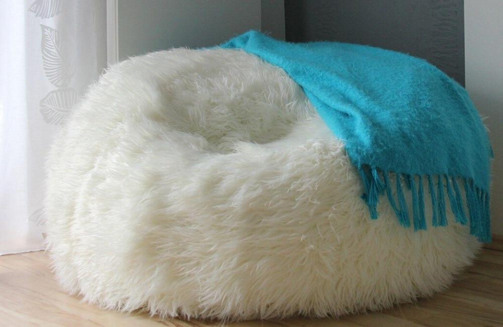 LARGE LUSH & SOFT SHAGGY ALPACA FUR BEAN BAG CLOUD BEAN BAG CHAIR - FUR SAC - Red ,beige,black,white Colors In Stock