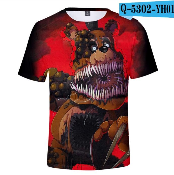2019 Five Nights at Freddy 3D Printed T-shirts gril boy Children Fashion Summer Short Sleeve Tshirts kids Casual Trendy Wear