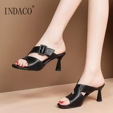 Women Slides Slippers Women Summer Shoes Genuine Leather Summer Footwear Open Toe Buckle Sliders Shoes недорого