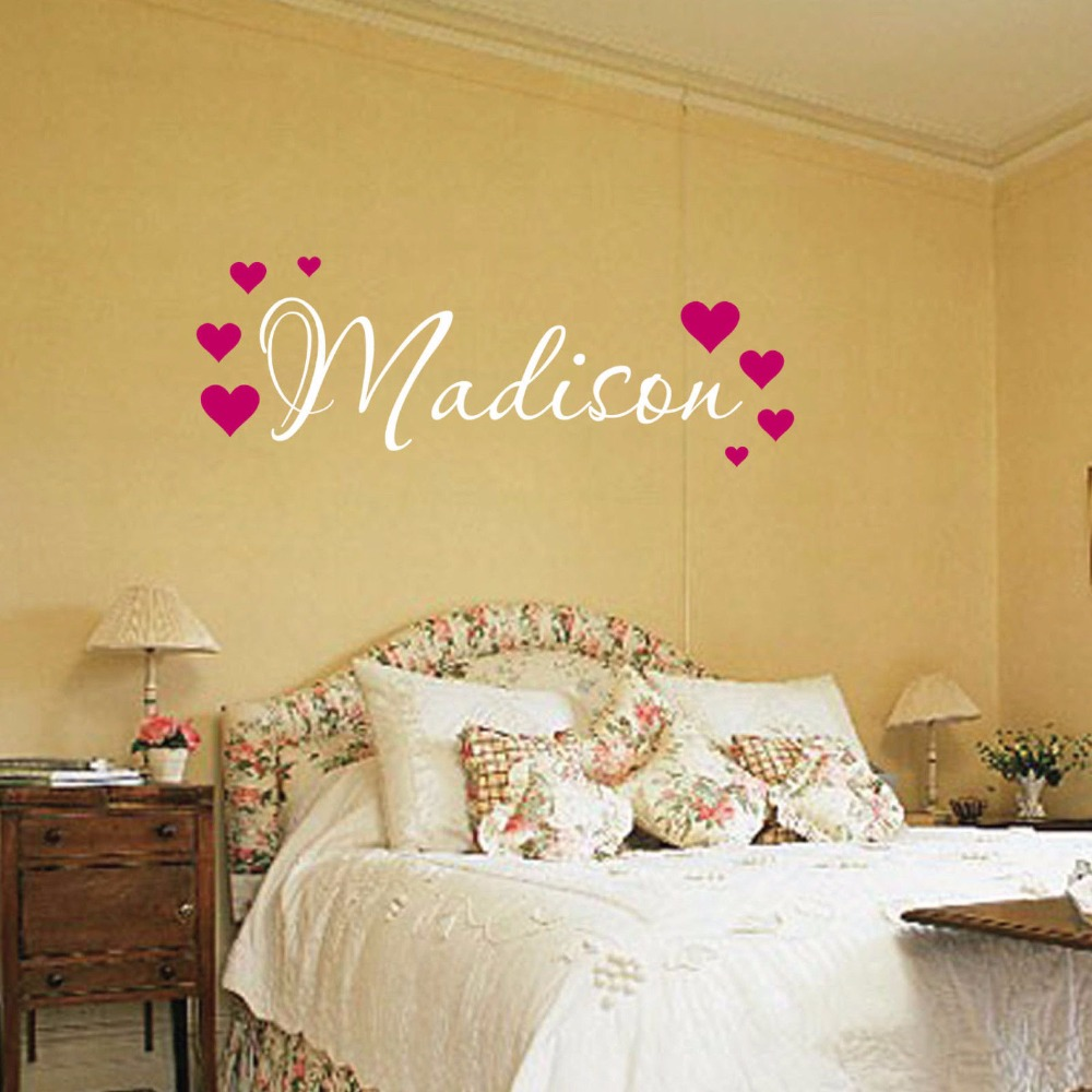 Madison Hearts Wall Decal Childrens Personalized Name Wall Decal ...
