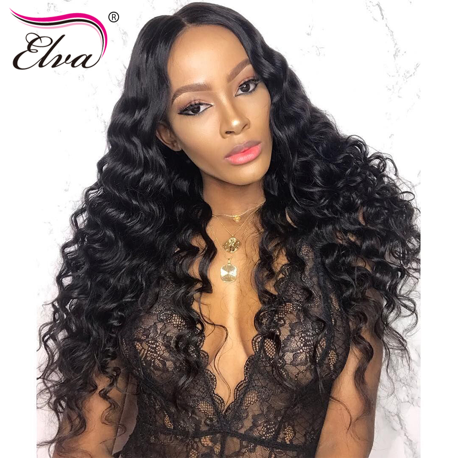 Pre Plucked 360 Lace Frontal Wigs With Baby Hair Brazilian Short Human Hair Wigs For Black Women Curly Remy Hair Wig Elva Hair