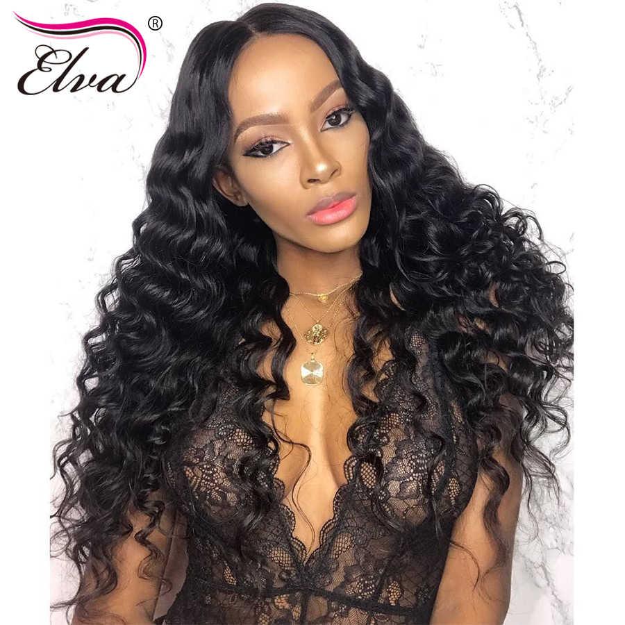 Wstępnie oskubane 360 koronkowe przednie peruki z dziecięcymi włosami brazylijska peruka z naturalnych krótkich włosów dla czarnych kobiet kręcone peruka z włosów typu Remy Elva Hair