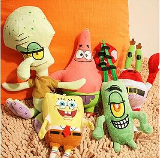 6pcs/set SpongeBob Plush Toys Kids Cartoon Movie Characters Christmas Birthday Gifts Toys Stuffed & Plush Animals