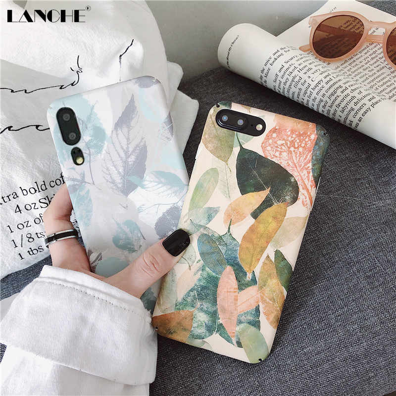 LANCHE Hard Plastic Phone Cases For Huawei P20 P30 Lite Mate 20 Pro Case Retro Leaf Phone Cover Case On For Honor 10 V10 V20 8X