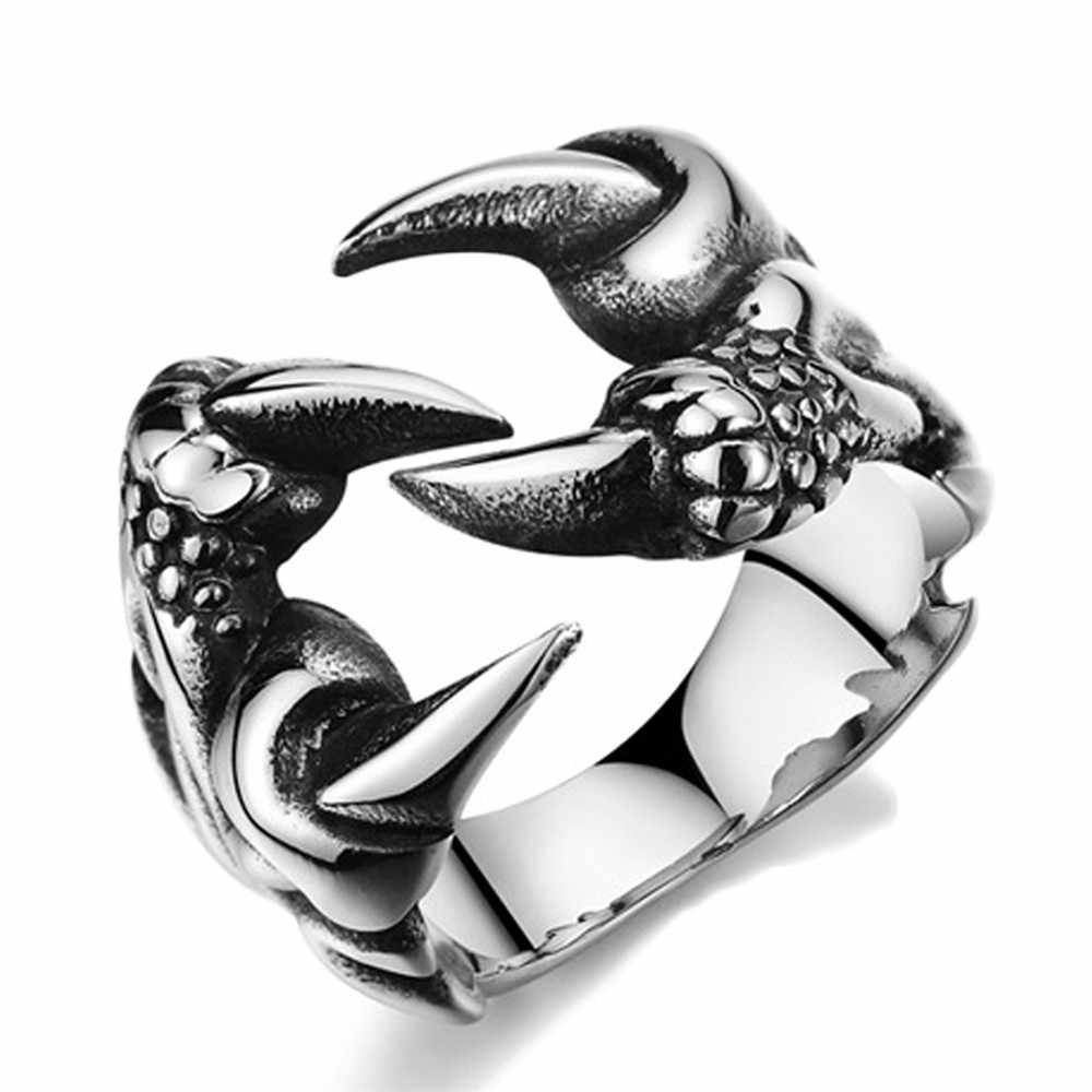 2017 New Rock Punk Male Biker Rings Stainless Steel Dragon Claw Rings For Men Vintage Gothic Jewelry Drop Shipping  RD188