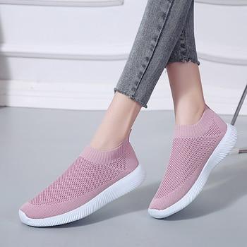 19a9e240817 Zapatillas De deporte De primavera y verano para Mujer, Zapatos De malla De  punto vulcanizados, deslizamiento informal, calzado plano suave para caminar,  ...