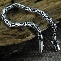 V YA Real Pure 925 Sterling Silver Cool Chain Bracelet For Men Punk Style Thai Silver