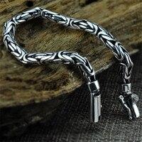 V. YA Chính Hãng 100% Tinh Khiết Bất Động 925 Sterling Silver Men Bracelet Thời Trang Punk Phong Cách Thái Bạc Bangle Vòng Tay Người Đàn Ông đồ trang sức