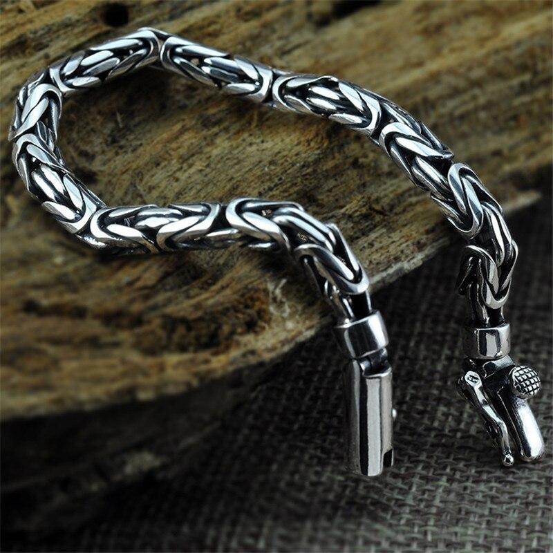 V. YA véritable 100% réel pur 925 en argent Sterling hommes Bracelet de mode Punk Style Thai argent Bracelet Bracelets hommes bijoux