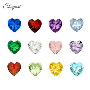 12PCS Mix 12Colors Heart/Round/Star Birthstone Charms Crystal Birthday Stone Floating Locket Charms for Living Memory Locket(China)