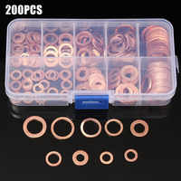 200 Pcs/Box o-rings Sealing copper Washer Gasket Sump Plug Oil For Boat Crush Washer Flat Seal Ring Fitting-wwo