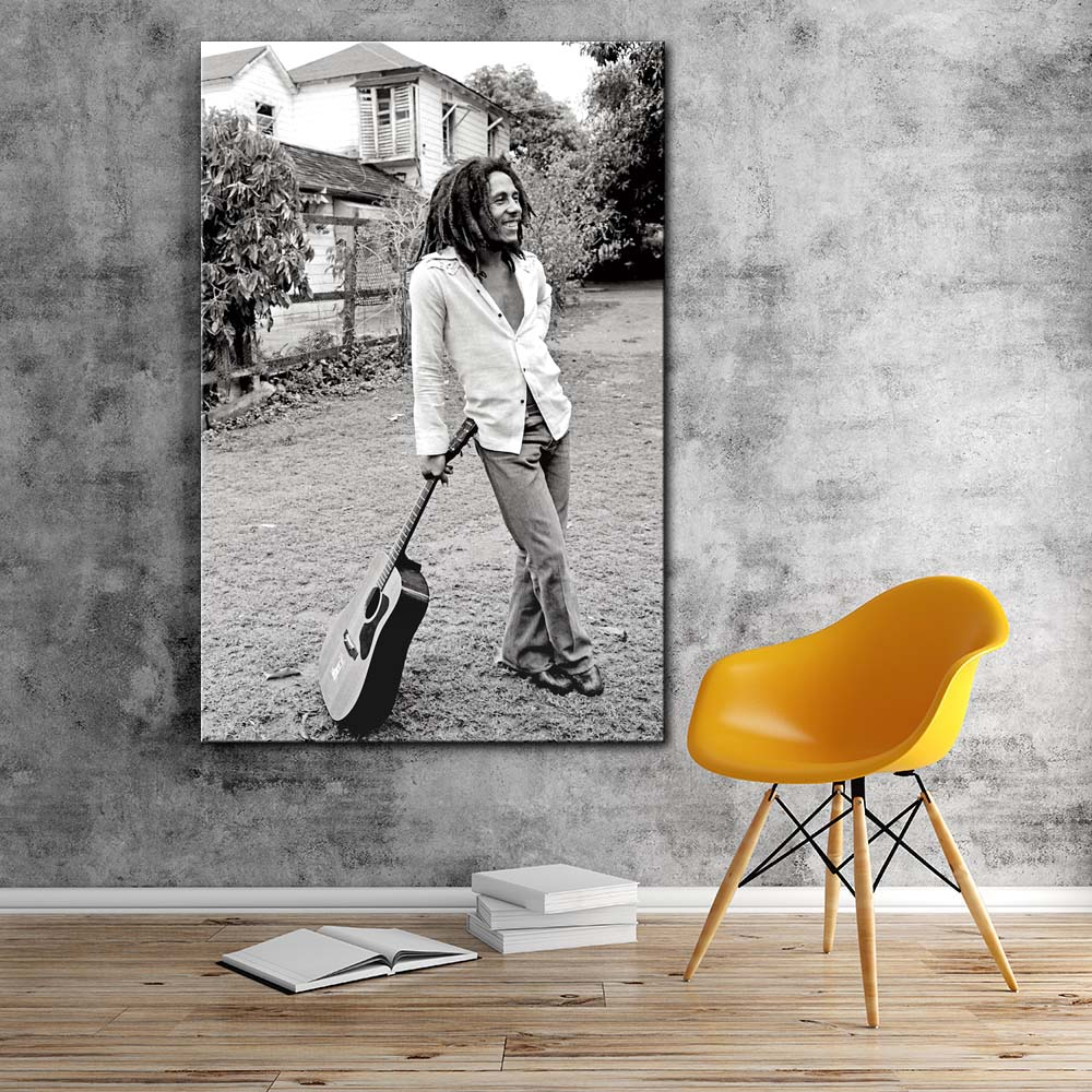 Modern painting bob marley black and white pictures canvas art print stretched frame artwork living room