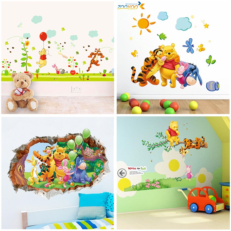 Dibujos animados Winnie the Pooh calcomanías de pared para habitaciones de niños dormitorio vivero decoración carteles diy animales pegatinas de pared arte pvc carteles