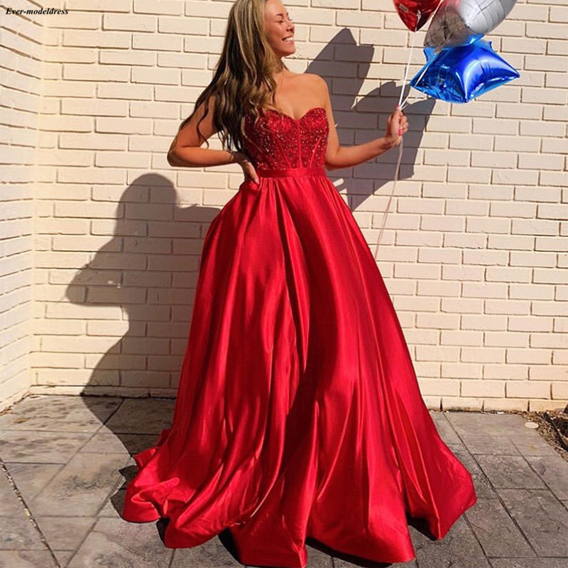 Red Sweetheart A-Line   Prom     Dresses   2019 Sequins Beaded Zipper Back Girls Graduation Party Gowns Sweep Train robe de gala