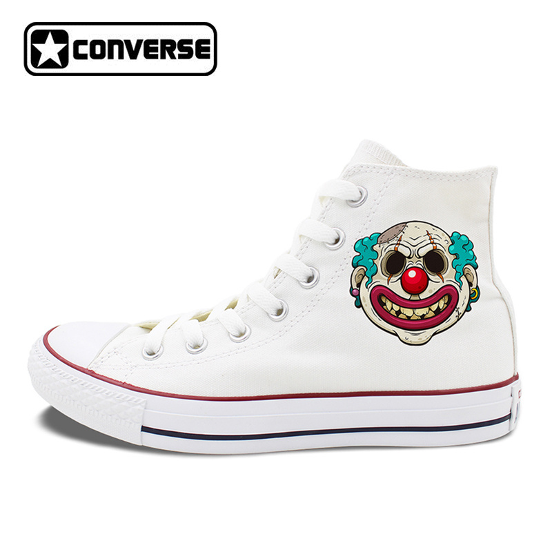 All Stars Shoes Men's Converse Creepy Scar Clown Hand Painted Shoes for Women High Top Canvas Sneakers Classic Chuck Taylors hand painted skull flower converse chucks men women skateboarding shoes floral canvas sneakers high top flats