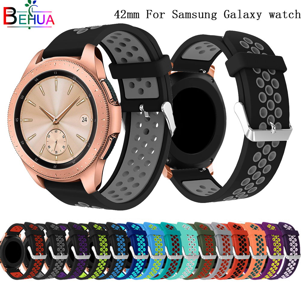 20mm Strap For Samsung Galaxy 42mm Watch Band Replacement Sport Silicone Round Hole Ventilation For Samsung Gear S2 Watch Strap
